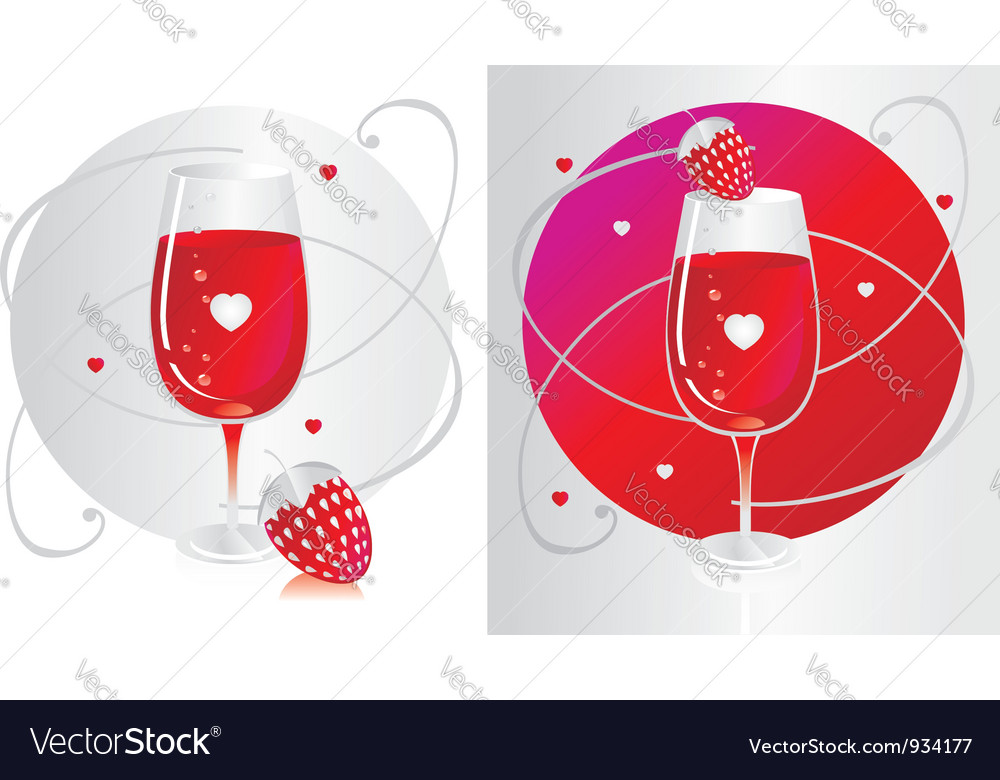 Wine glass with strawberry vector | Price: 1 Credit (USD $1)