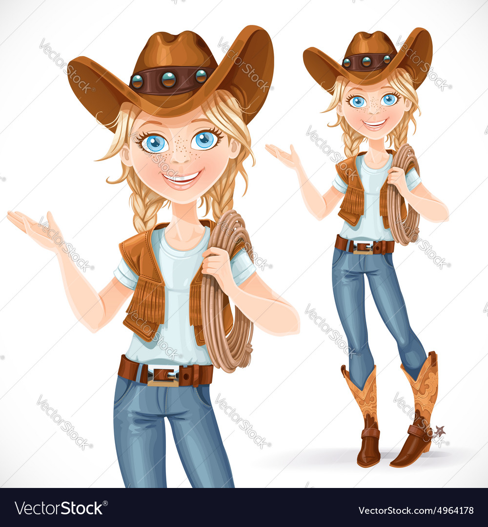 Beautiful girl in a cowboy hat and with lasso says vector