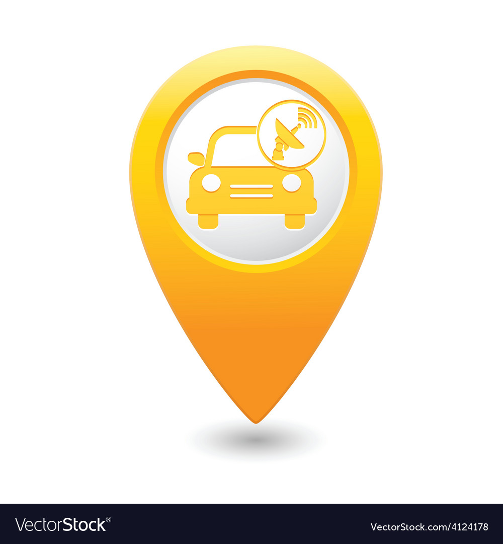 Cars satelite map pointer yellow vector | Price: 1 Credit (USD $1)