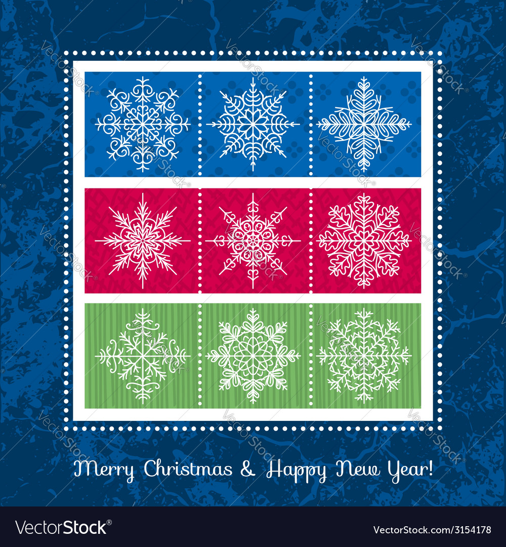 Christmas background with hand draw snowflakes vector | Price: 1 Credit (USD $1)