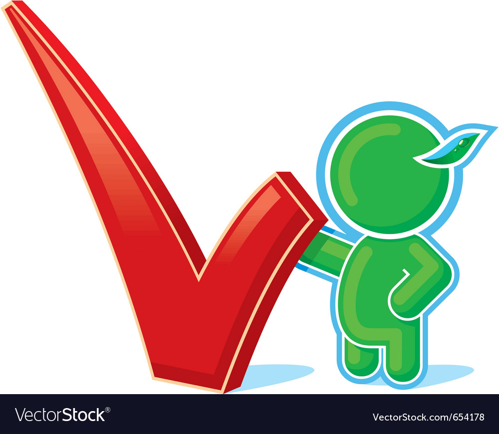 Green hero with positive checkmark vector   Price: 1 Credit (USD $1)