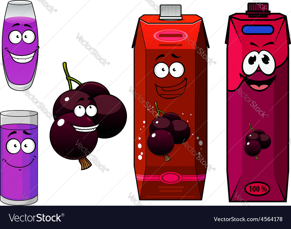 Happy cartoon currant fruit and juice drinks vector | Price: 1 Credit (USD $1)
