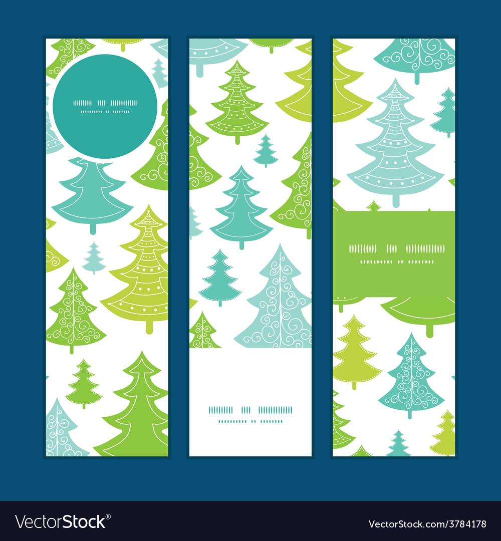 Holiday christmas trees vertical banners vector | Price: 1 Credit (USD $1)