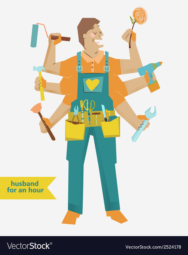 Retro cartoon handyman with different tools vector | Price: 1 Credit (USD $1)