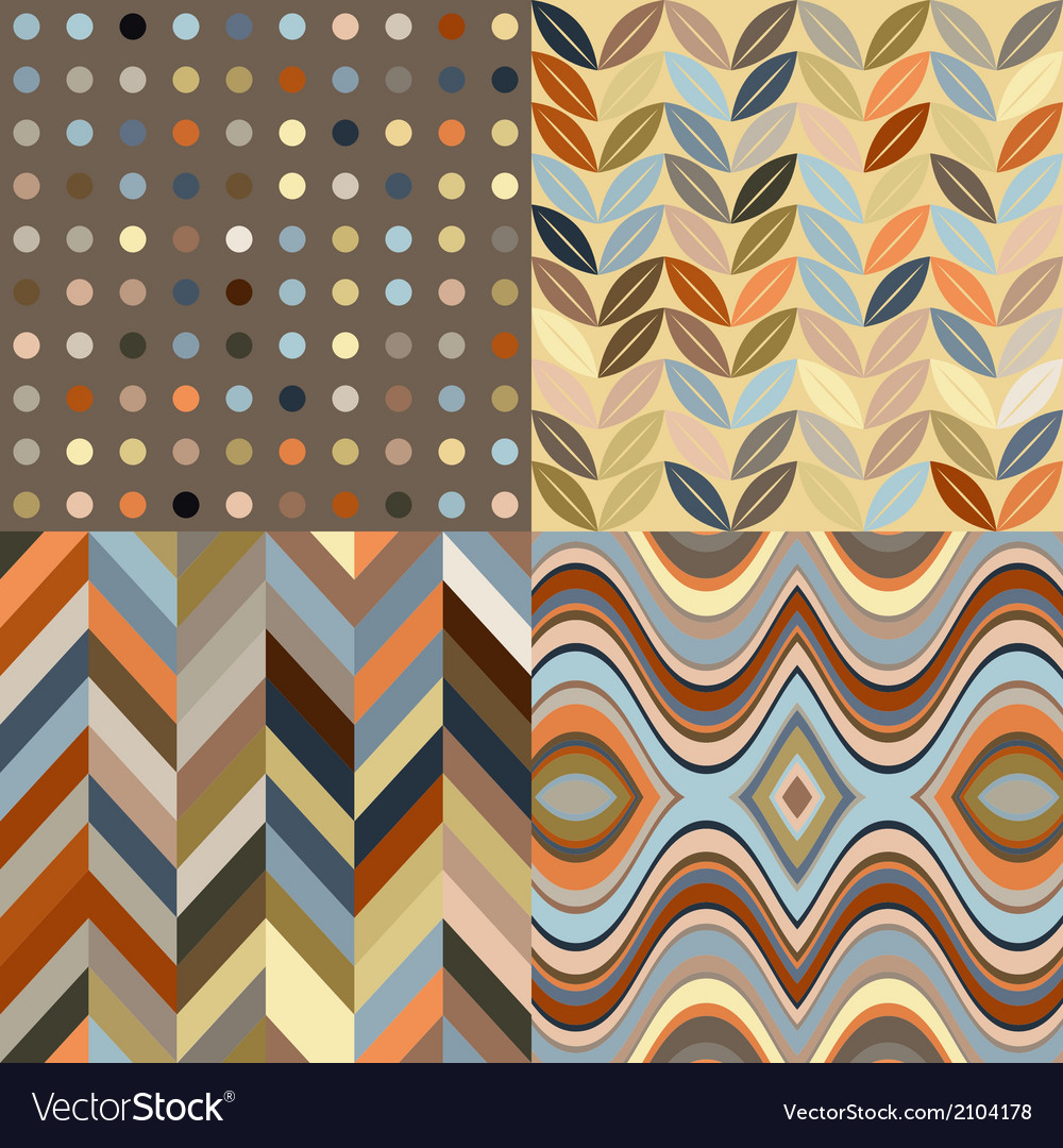 Set of retro seamless abstract wavy backgrounds vector | Price: 1 Credit (USD $1)