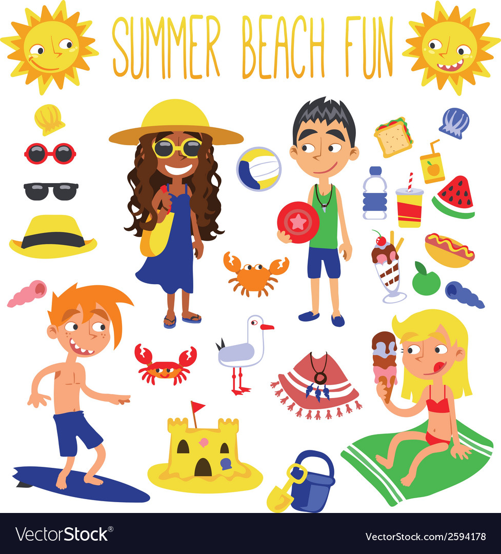 Summer beach fun vector | Price: 1 Credit (USD $1)