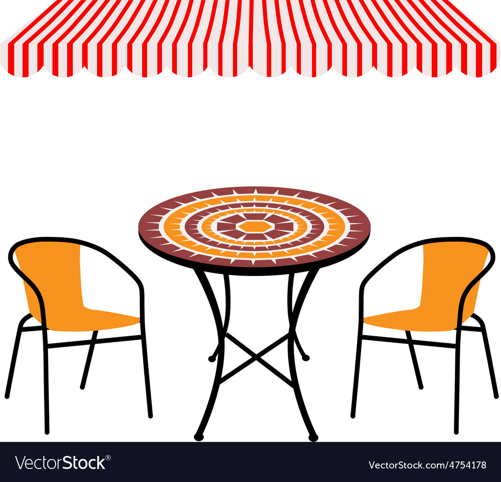 Table chairs and awning vector | Price: 1 Credit (USD $1)