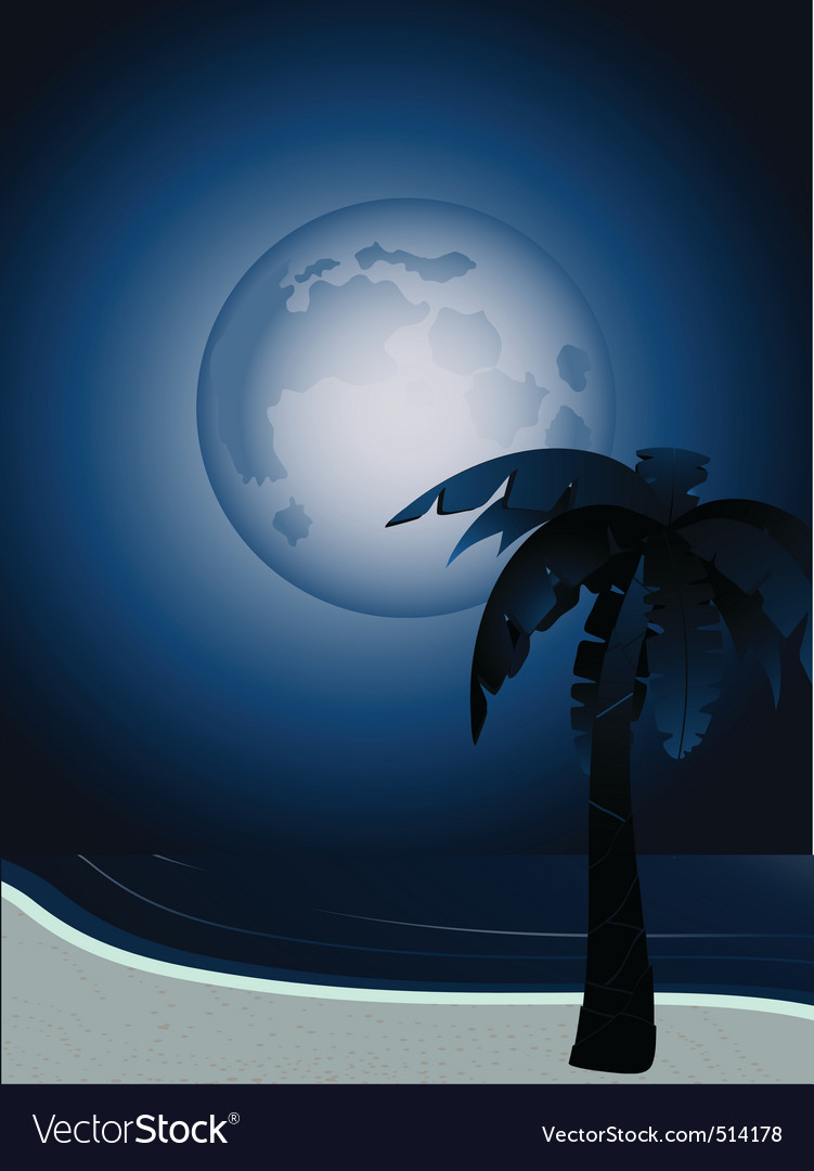 Tropical full moon vector | Price: 1 Credit (USD $1)