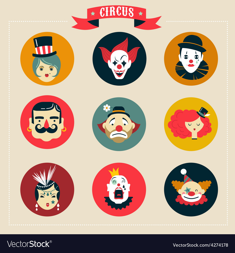 Vintage circus freak show icons and hipster vector | Price: 1 Credit (USD $1)