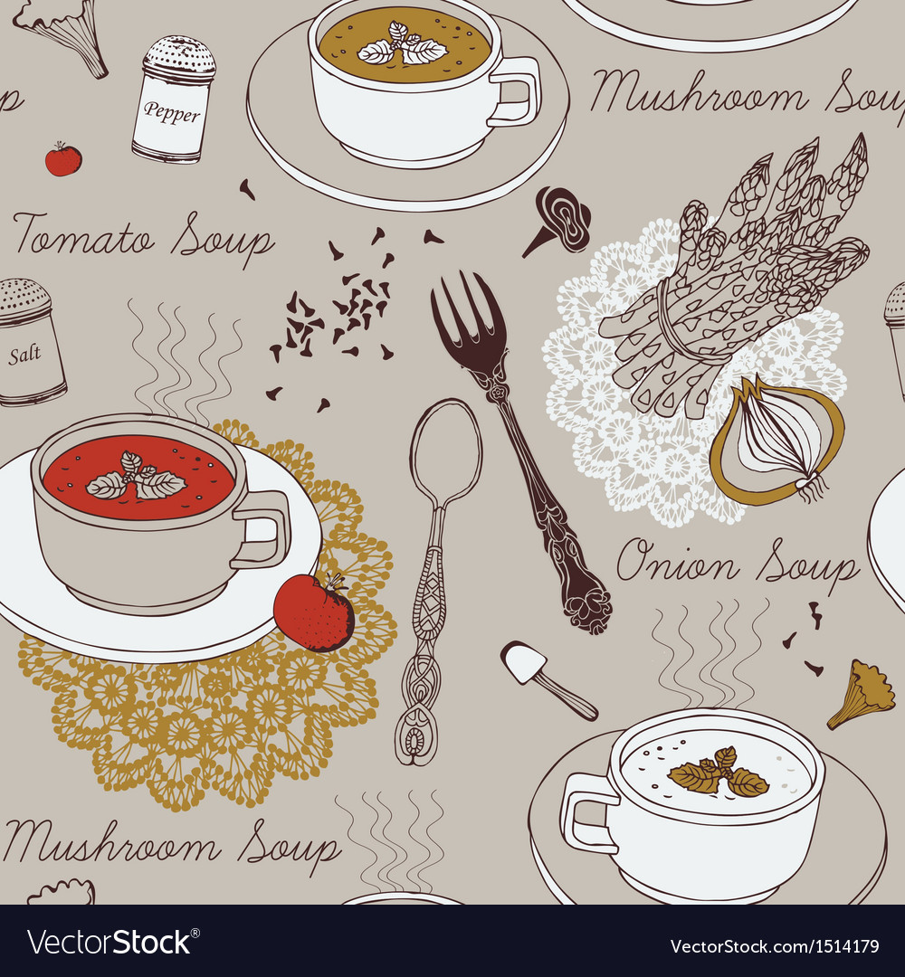 Background with soup in ceramic bowl vector | Price: 3 Credit (USD $3)