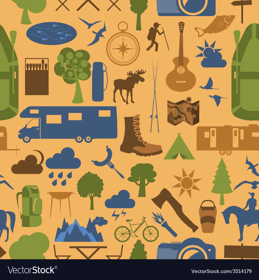 Camping outdoors hiking seamless pattern vector | Price: 1 Credit (USD $1)