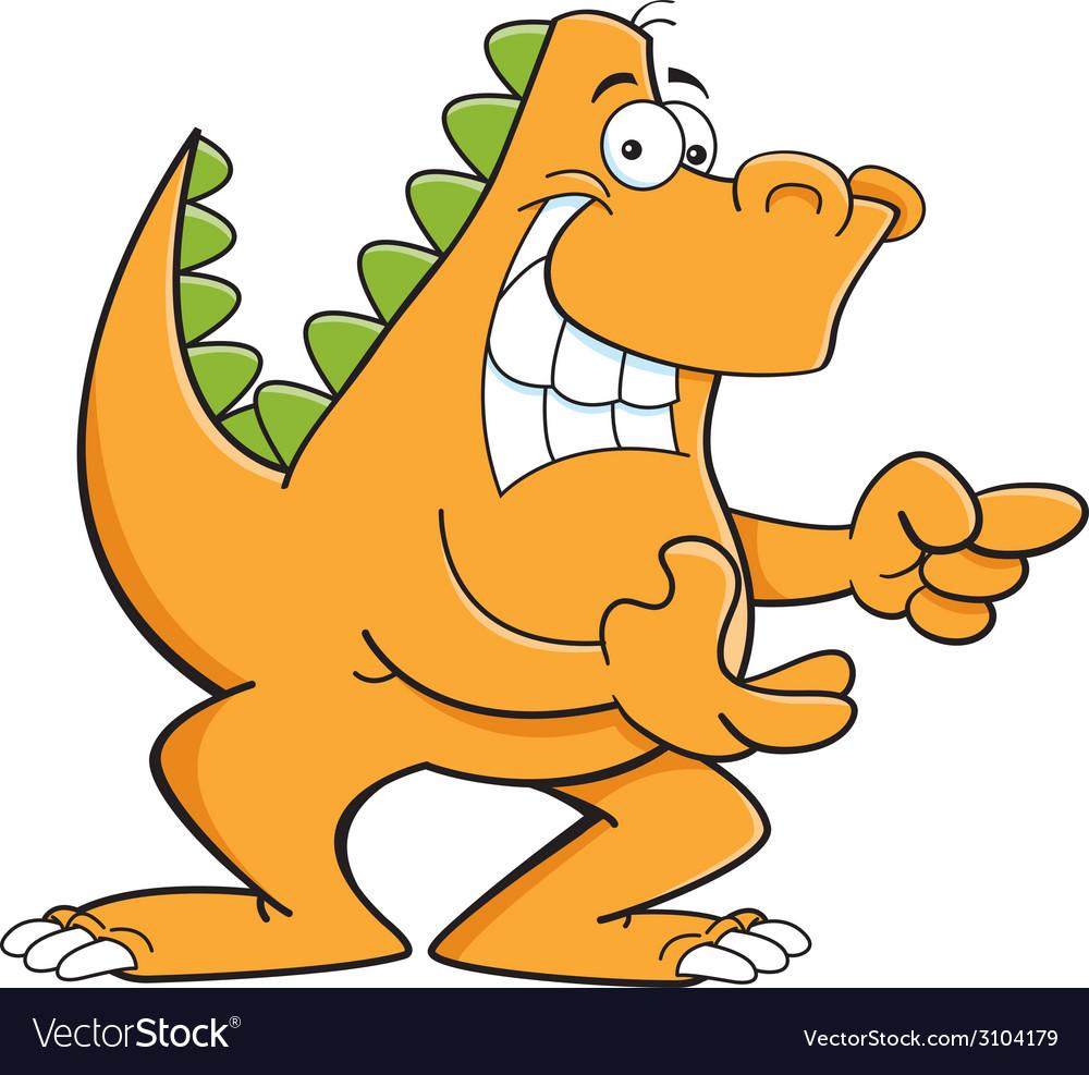 Cartoon dinosaur pointing vector | Price: 1 Credit (USD $1)