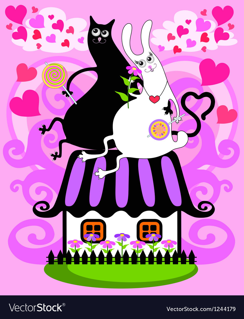 Cat and a rabbit on the roof vector | Price: 1 Credit (USD $1)