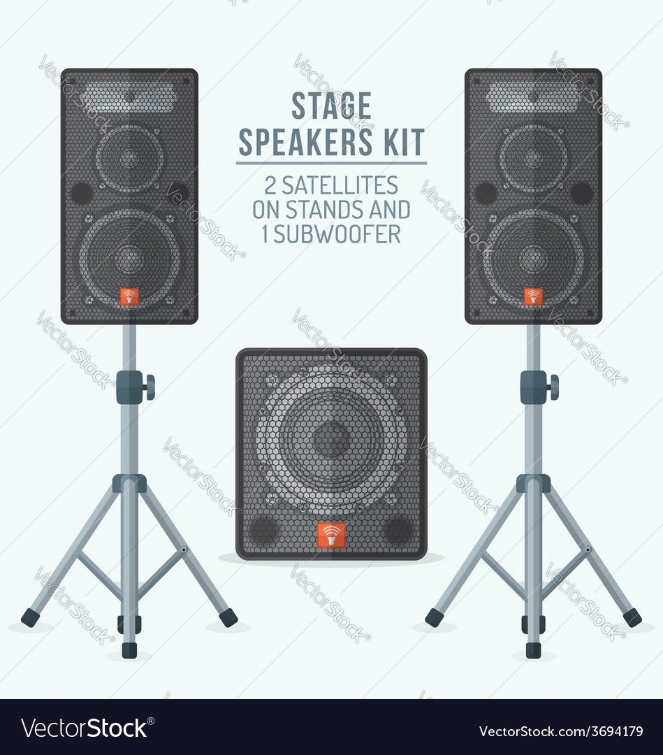 Color flat style loudspeakers on stands and vector | Price: 1 Credit (USD $1)