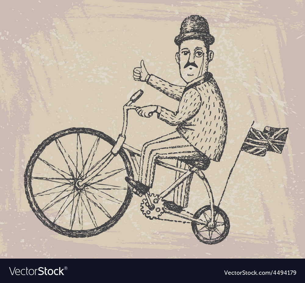 Gentleman on a bicycle vector | Price: 1 Credit (USD $1)