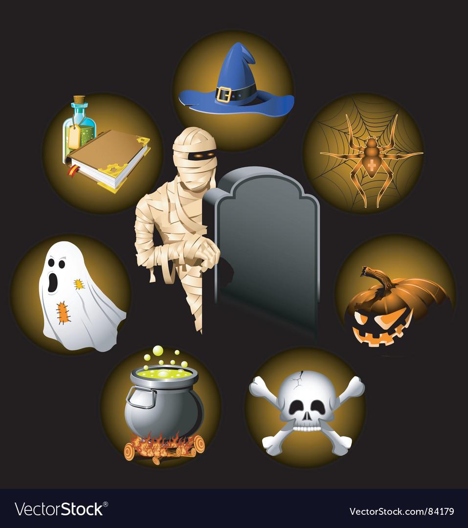 Halloween icons set vector | Price: 5 Credit (USD $5)