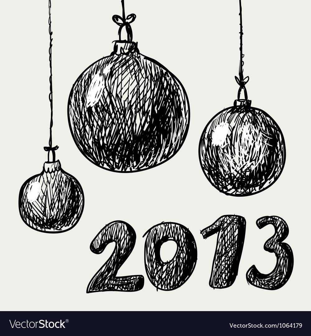 Hand drawn vintage christmas balls vector | Price: 1 Credit (USD $1)