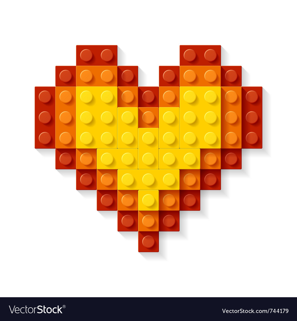 Heart made plastic blocks vector | Price: 1 Credit (USD $1)