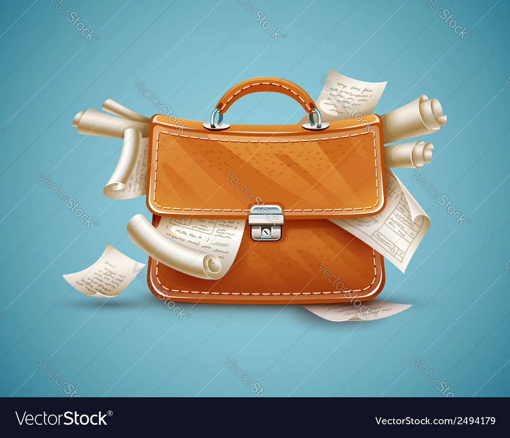 Leather briefcase full of vector | Price: 1 Credit (USD $1)