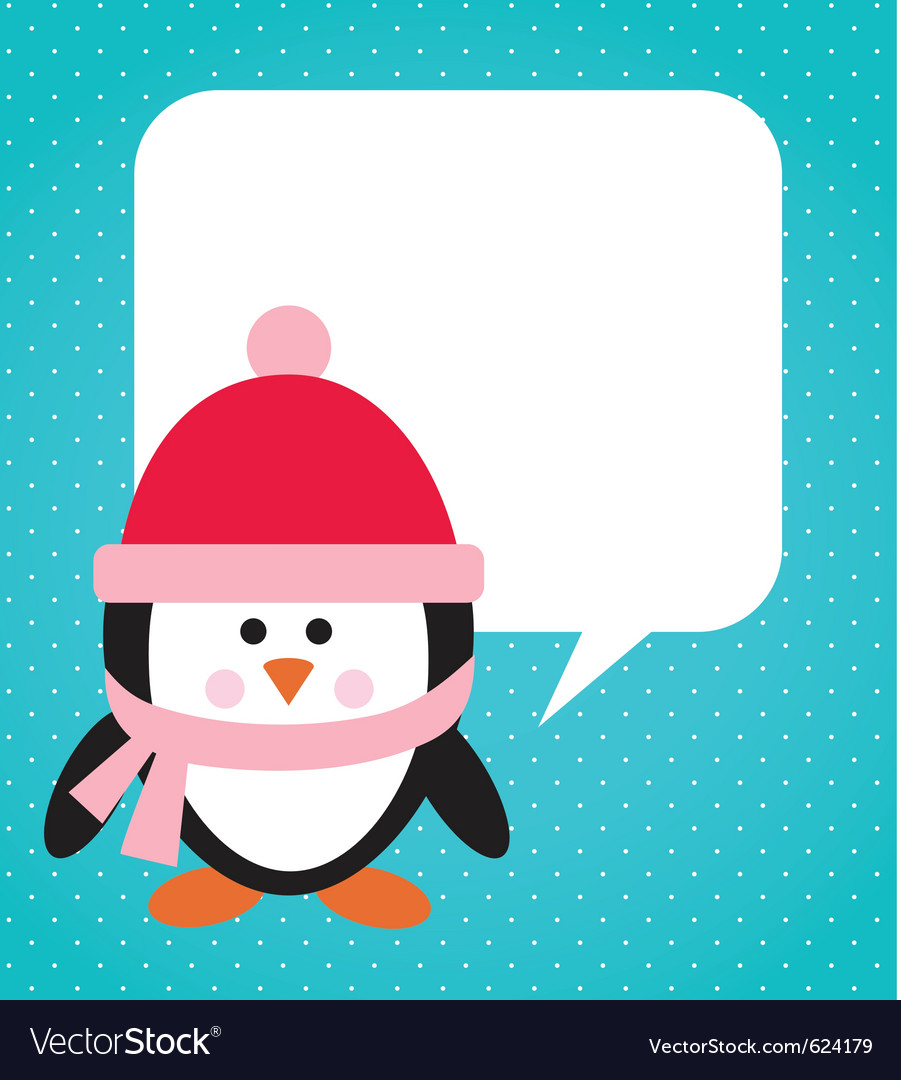 Penguin with hat and scarf vector | Price: 1 Credit (USD $1)