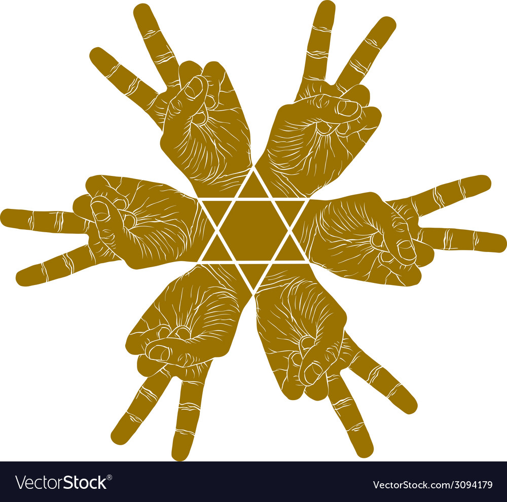 Six victory hands abstract symbol with hexagonal vector | Price: 1 Credit (USD $1)