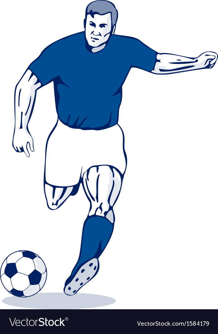 Soccer player kicking vector | Price: 1 Credit (USD $1)
