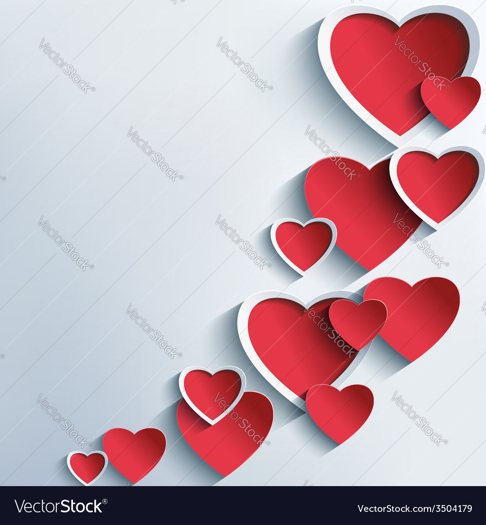 Trendy abstract background with 3d hearts vector | Price: 1 Credit (USD $1)