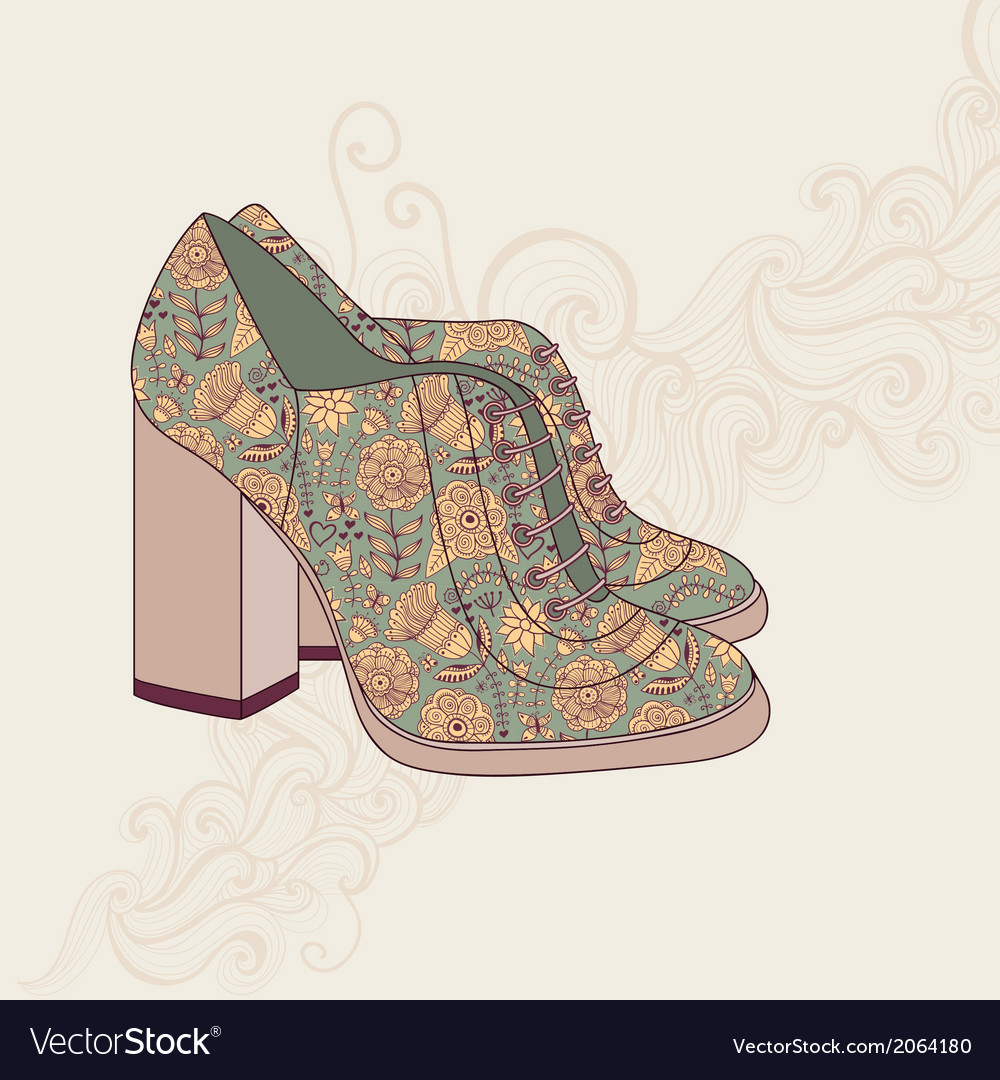 A high-heeled vintage shoes with flowers fabric vector | Price: 1 Credit (USD $1)