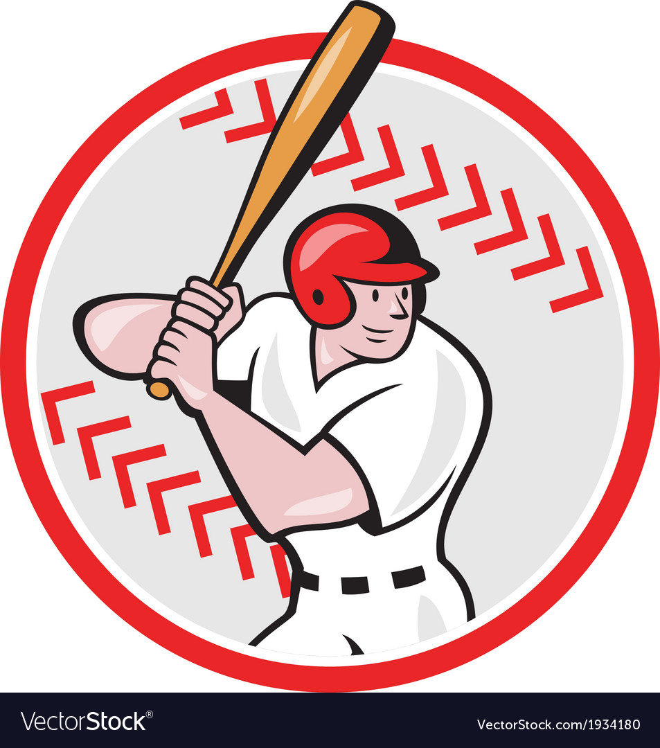 Baseball player batting ball cartoon vector | Price: 1 Credit (USD $1)