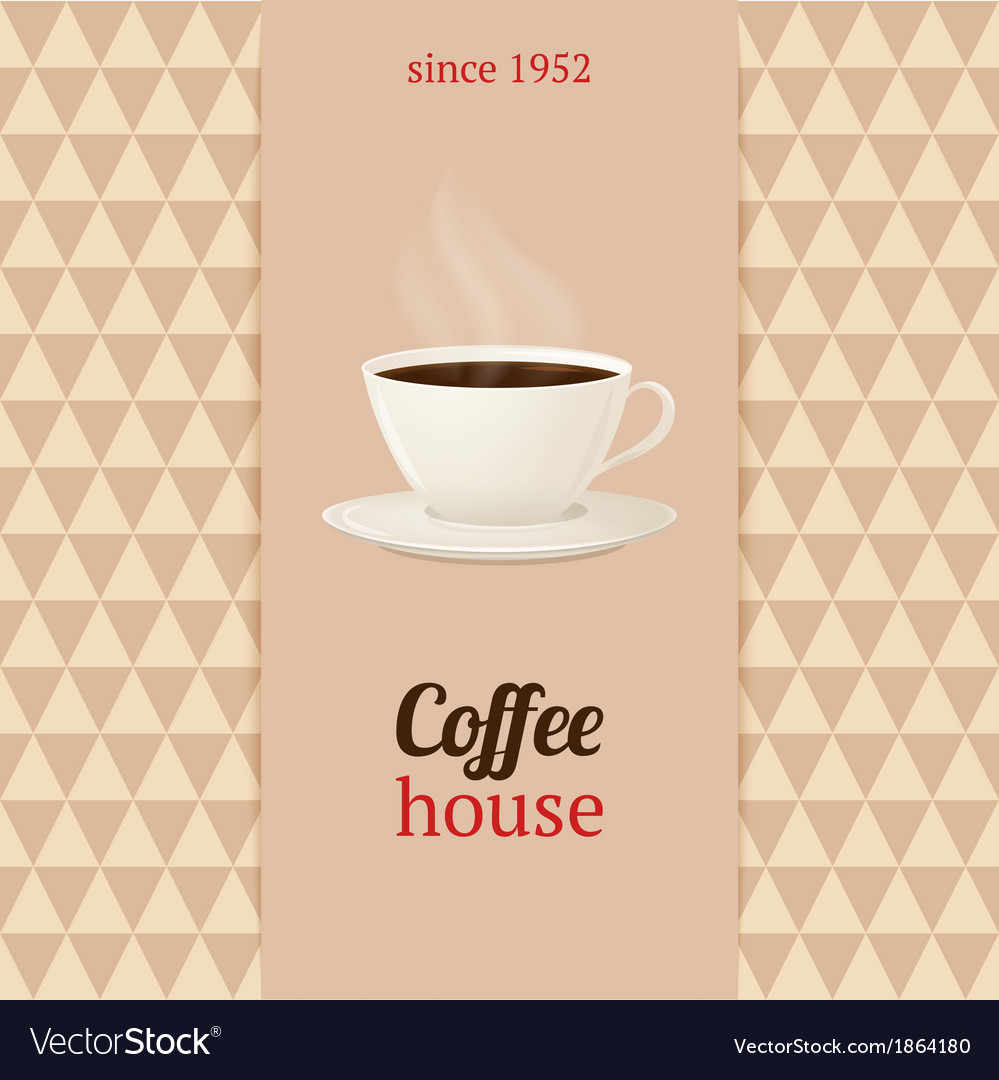 Coffee house menu with cup of hot drink vector | Price: 1 Credit (USD $1)