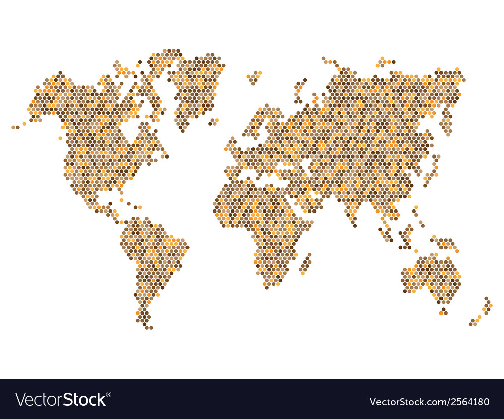 Dotted brown world map isolated on white vector | Price: 1 Credit (USD $1)