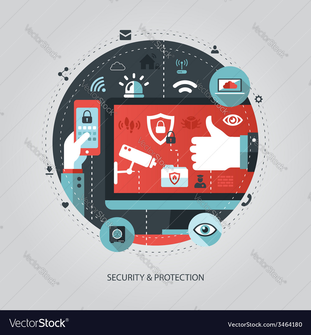 Flat design business with security vector | Price: 1 Credit (USD $1)
