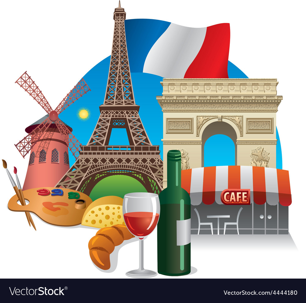 France landmarks vector | Price: 5 Credit (USD $5)