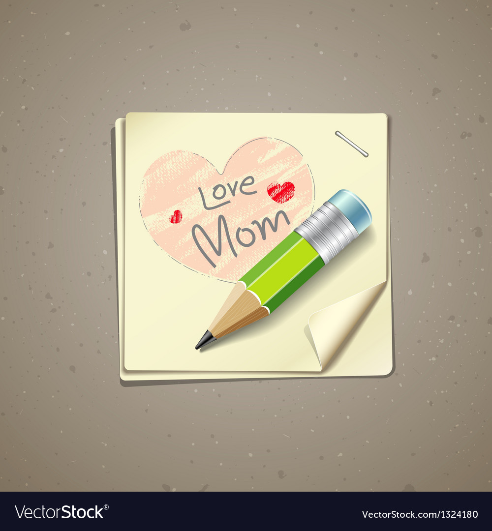 Happy mothers day paper note vector | Price: 1 Credit (USD $1)