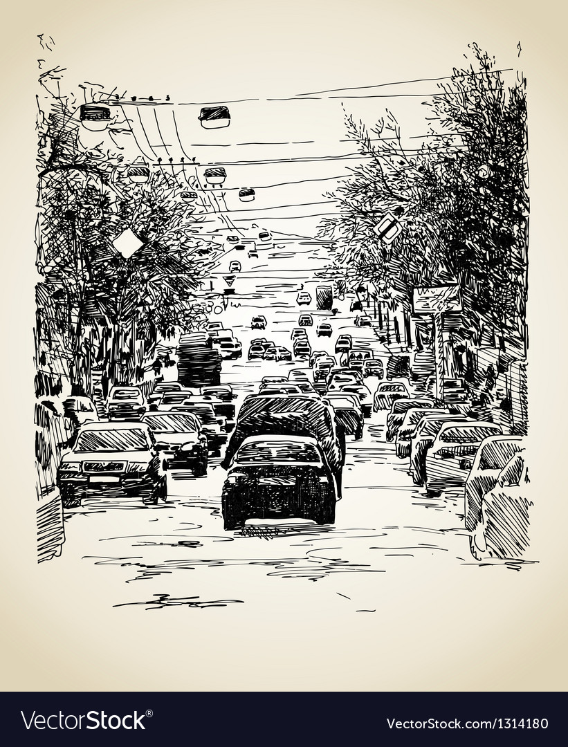 Line art city traffic composition vector   Price: 1 Credit (USD $1)