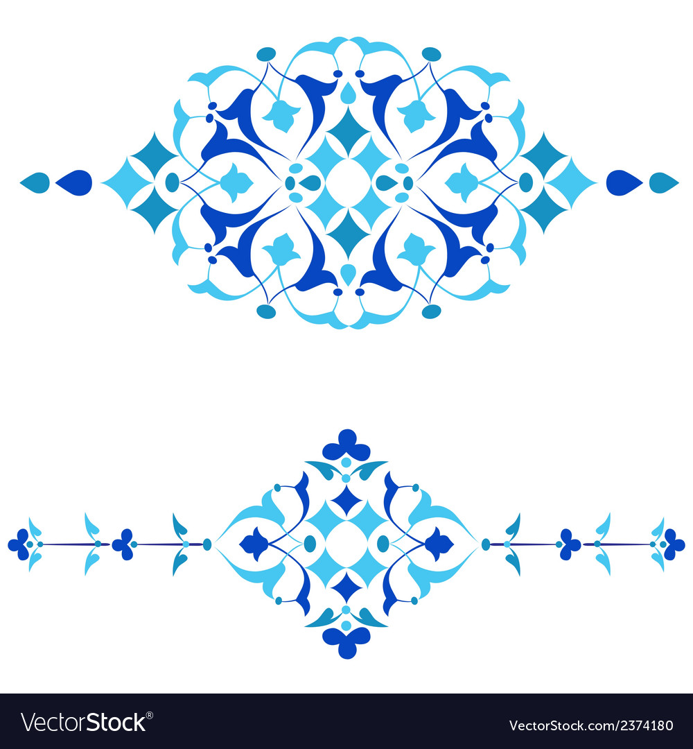 Ottoman motifs blue design series of fifty fourai vector | Price: 1 Credit (USD $1)