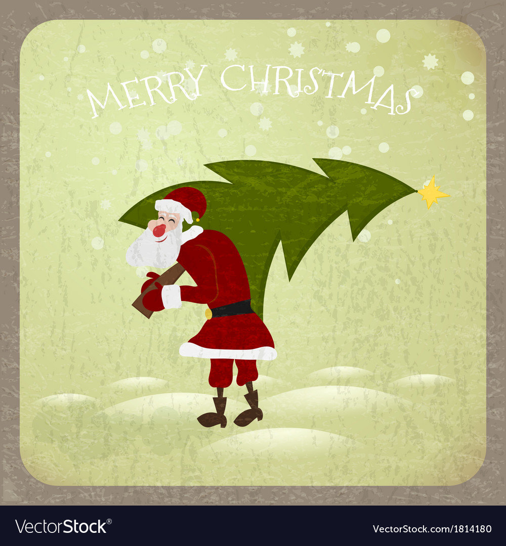 Santa claus with christmas tree vector | Price: 1 Credit (USD $1)