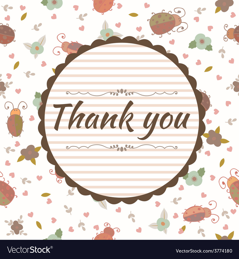 Thank you card floral frame vector | Price: 1 Credit (USD $1)
