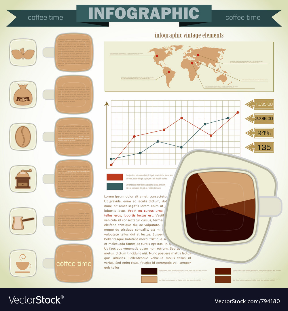Vintage infographics coffee icons vector | Price: 1 Credit (USD $1)