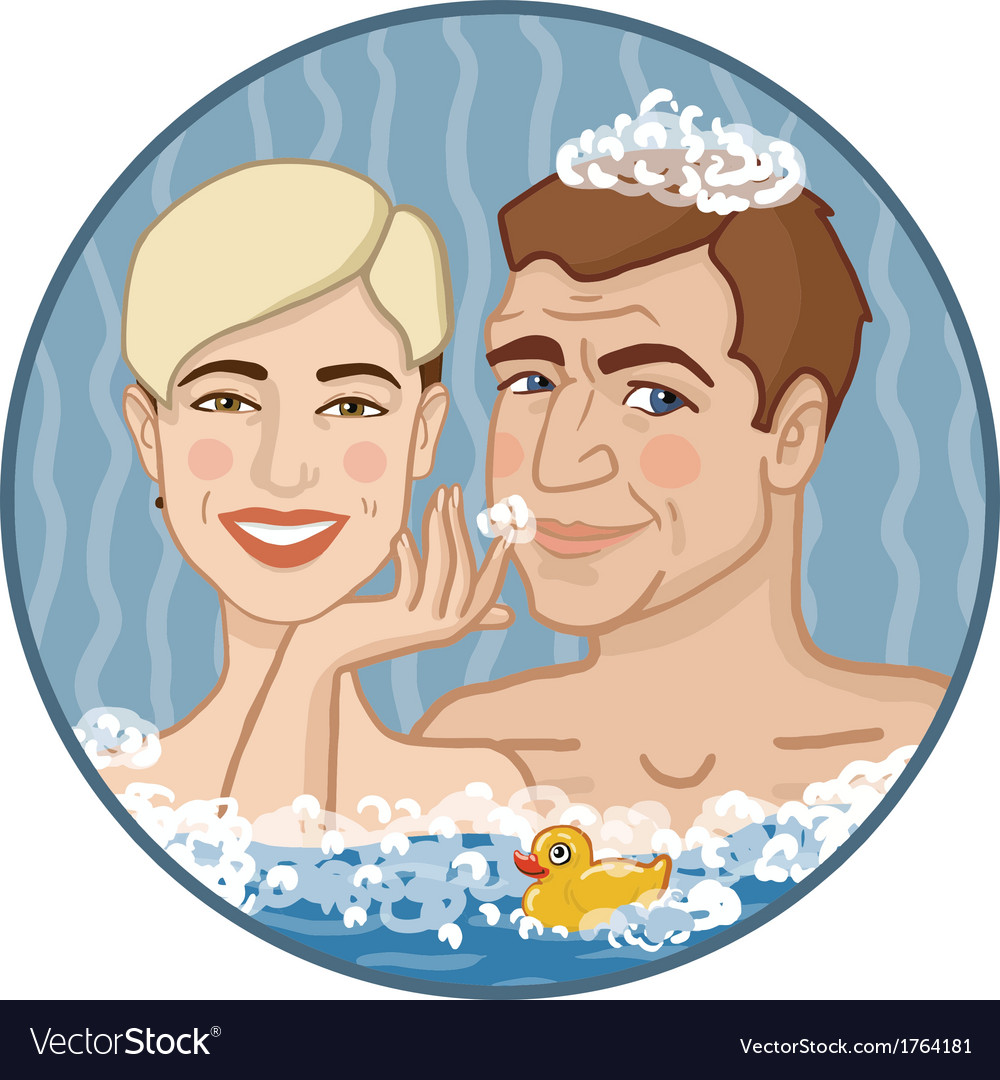 Boy and girl in foamy water vector | Price: 1 Credit (USD $1)