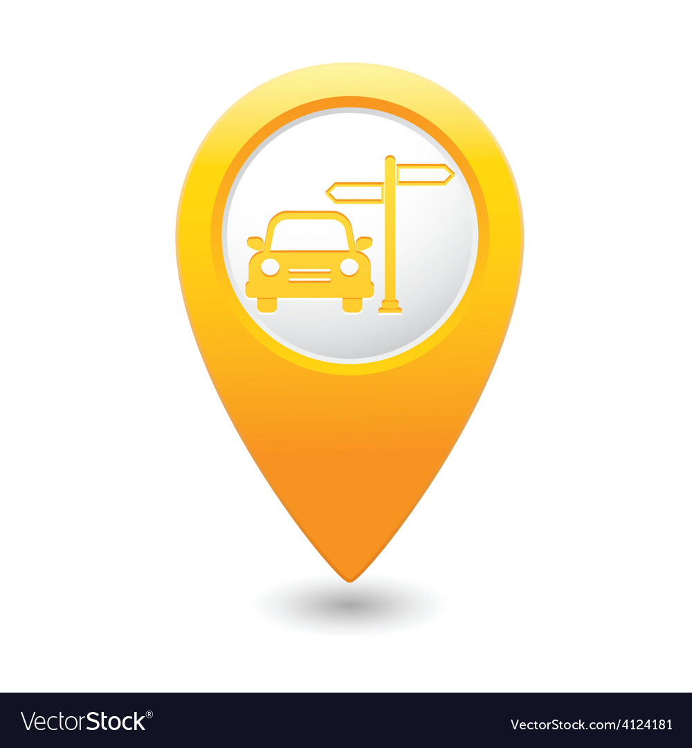 Direct car map pointer yellow vector | Price: 1 Credit (USD $1)