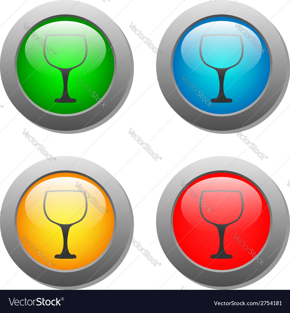 Goblet icon glass button set vector | Price: 1 Credit (USD $1)