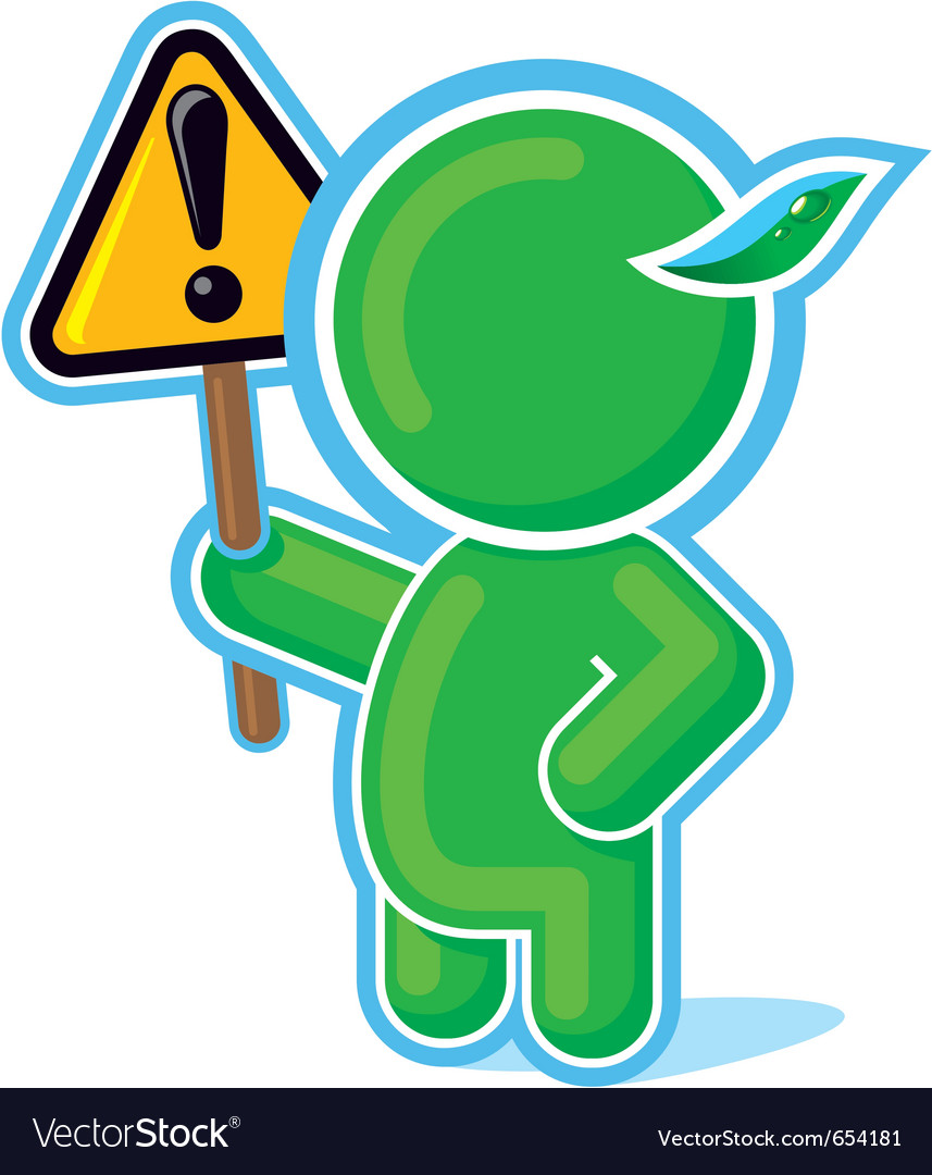 Green hero with warning sign vector | Price: 1 Credit (USD $1)