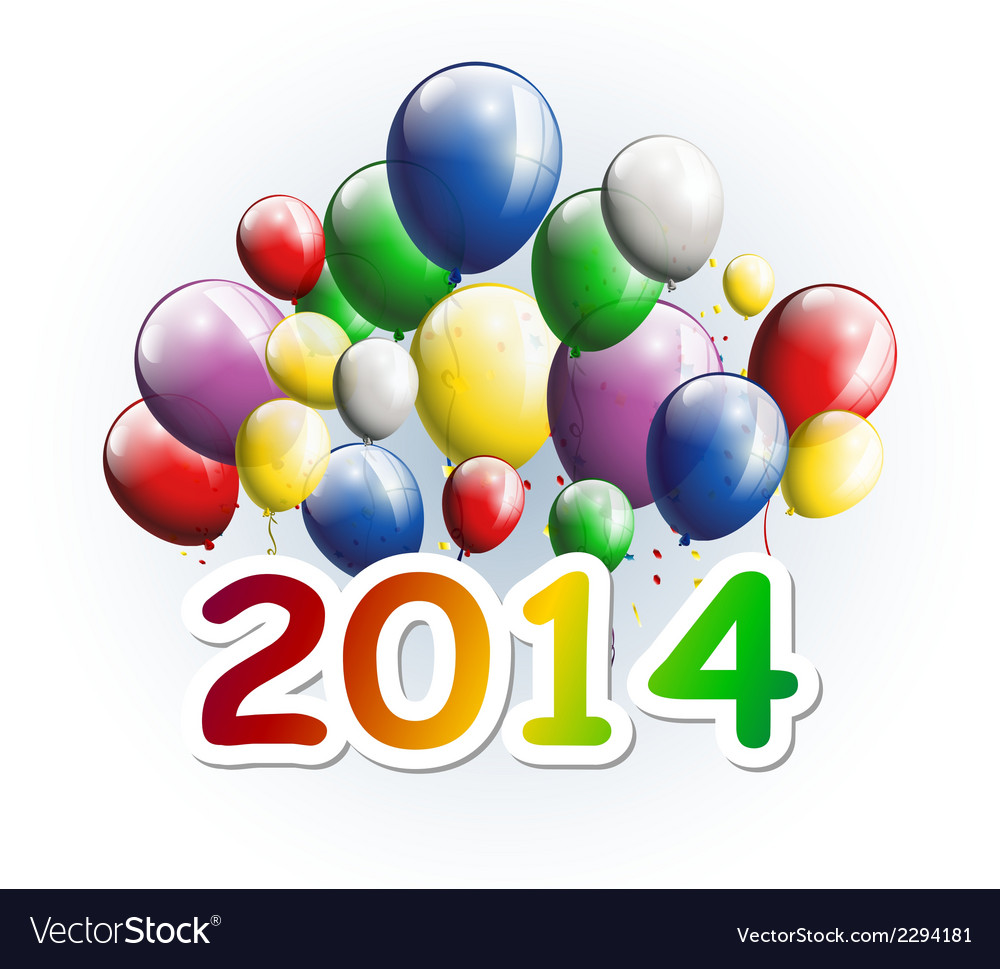 Happy new year 2014 greeting card with balloons vector | Price: 1 Credit (USD $1)