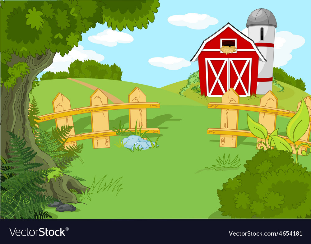 Idyllic farm landscape vector | Price: 3 Credit (USD $3)
