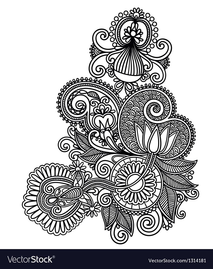 Line art ornate flower design vector | Price: 1 Credit (USD $1)