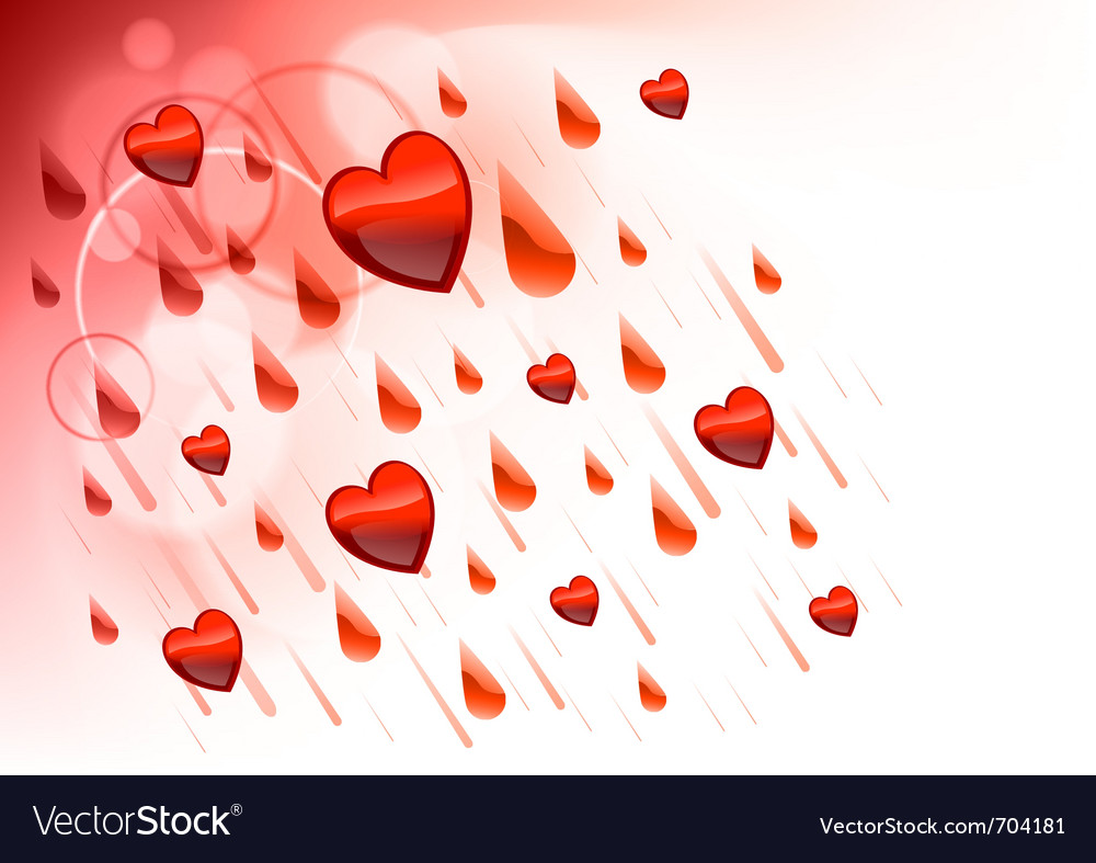 Raining hearts on the light background vector | Price: 1 Credit (USD $1)