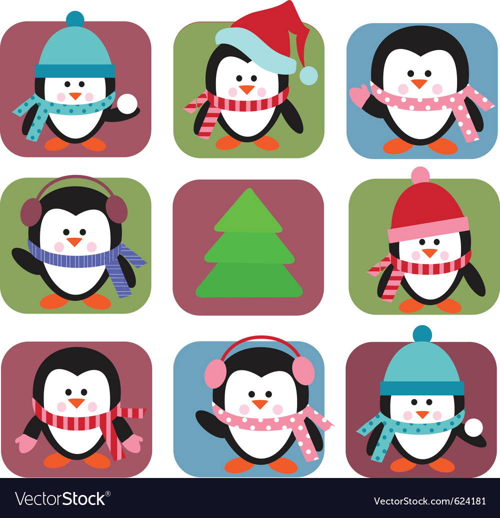 Set of holiday penguins vector | Price: 1 Credit (USD $1)