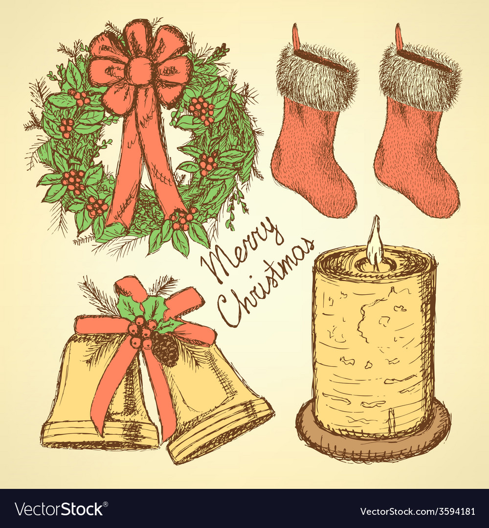 Sketch christmas set in vintage style vector | Price: 1 Credit (USD $1)