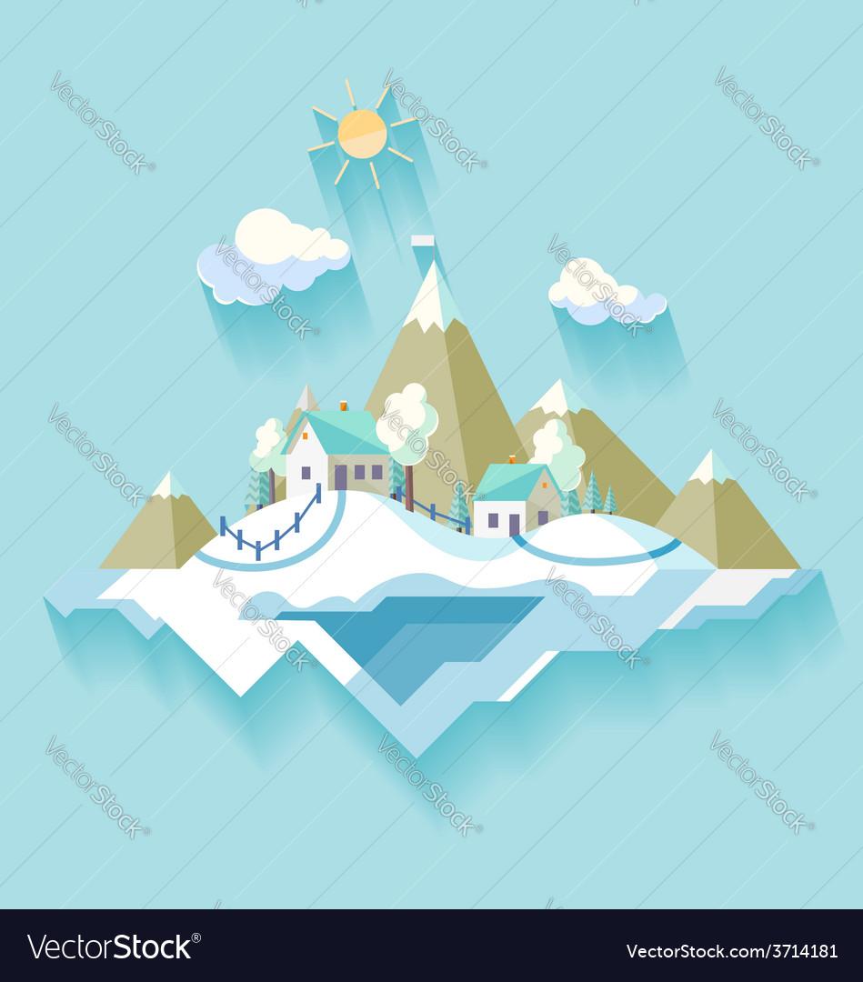 Winter village landscape vector | Price: 1 Credit (USD $1)